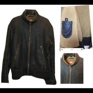 Boss Hugo Boss Men's Faux Suede Bomber Jacket Sz L